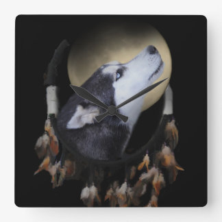 Dream catcher and blue eyed Husky Square Wall Clock