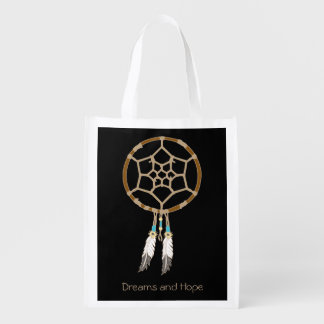 Dream Catcher Illustration with Custom Text Option Reusable Grocery Bag