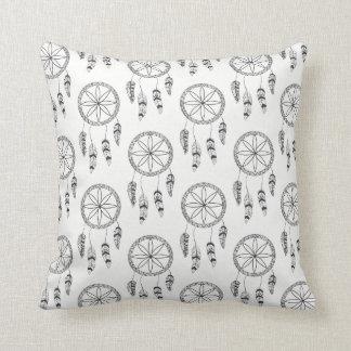 Dream Catcher Pattern Black & White Tribal Boho Throw Pillow