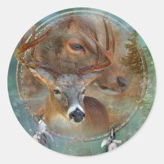 Dream Catcher Series-Spirit Of The Deer Art Sticke Classic Round Sticker