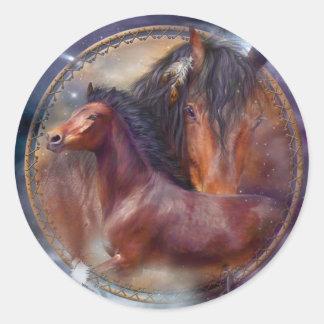 Dream Catcher - Spirit Horses Art Sticker