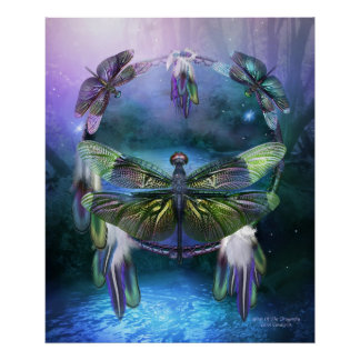 Dream Catcher-Spirit Of The Dragonfly Poster/Print Poster