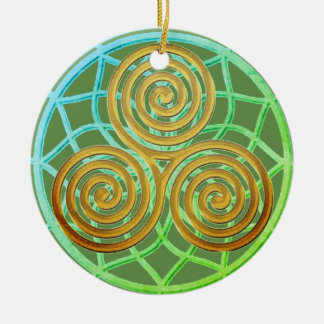Dream Catcher Triple Spiral Ceramic Ornament