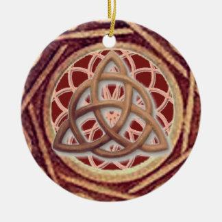 Dream Catcher Triquetra Round Ceramic Ornament