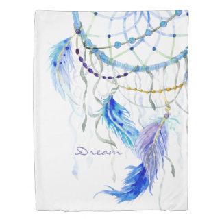 Dream Catcher Watercolor Feathers Bead Blue Purple Duvet Cover