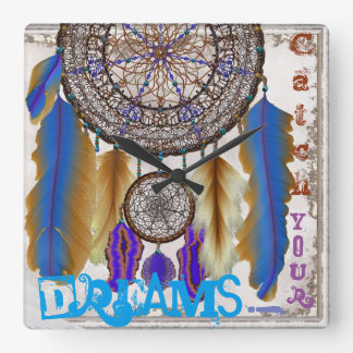 Dream catcher with a magic bird blue feathers square wall clock