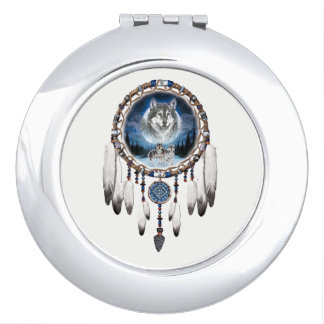 Dream Catcher with wolf background Compact Mirror