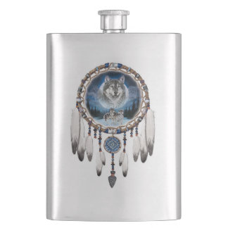 Dream Catcher with wolf background Hip Flask