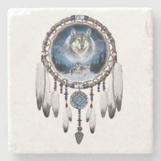 Dream Catcher with wolf background Stone Coaster
