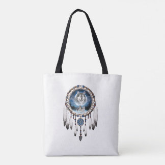 Dream Catcher with wolf background Tote Bag