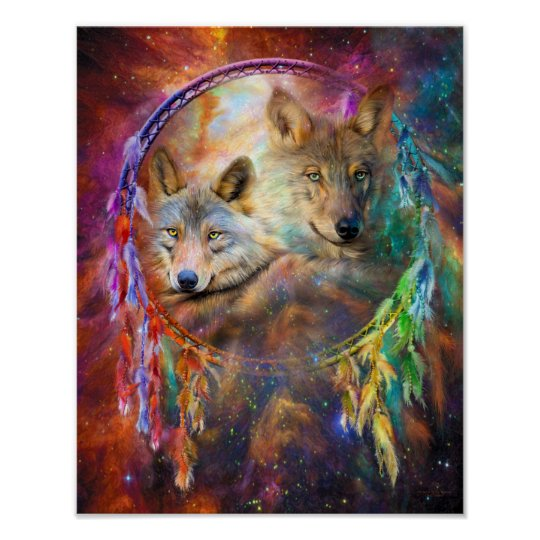 Dream Catcher - Wolf Spirits Art Poster/Print Poster