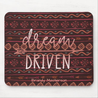 Dream Driven Boho Tribal Pattern, Personalized Mouse Pad
