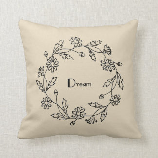 Dream Floral Wreath Farmhouse Throw Pillow