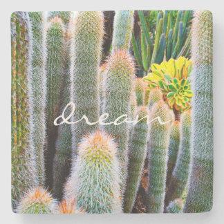 """Dream"" fuzzy green cactus photo stone coaster"