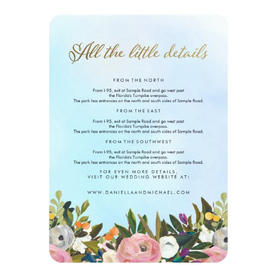 Dream Garden Floral Wedding Insert Card