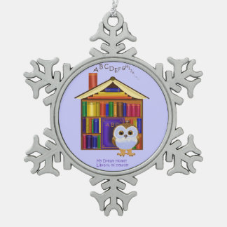 Dream Home – Library! Snowflake Pewter Christmas Ornament