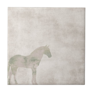 Dream Horse: Watercolor horse on dust brown Tile