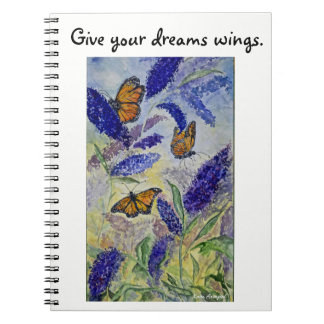 Dream Inspire Butterfly Watercolor Spiral Notebook