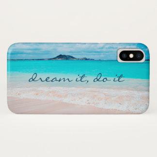 """Dream It, Do It"" Blue Ocean and Sandy Beach Photo iPhone X Case"