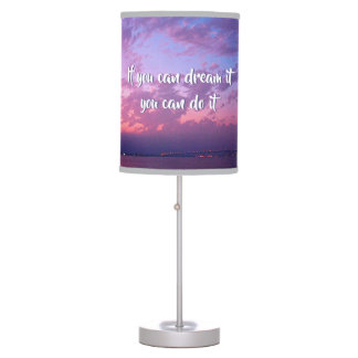 """Dream It Do It"" Quote Pink Purple Sunset Photo Table Lamp"