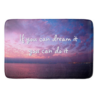 """Dream It, Do It"" Quote Purple Ocean Sunset Photo Bath Mat"