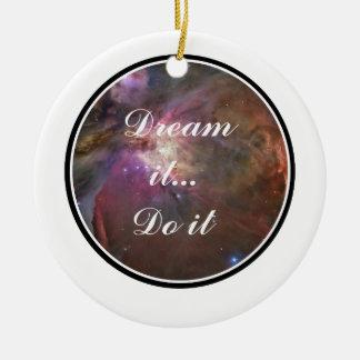 Dream it, Do it - Space Round Ceramic Ornament