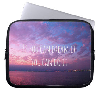 """Dream it"" purple pink sunset photo laptop sleeve"