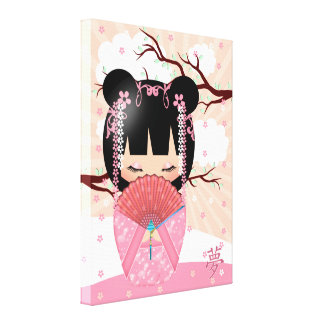 "Dream Kokeshi Doll 18"" x 24"" Wrapped Canvas"