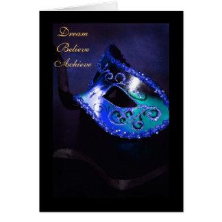 Dream Masquerade Blue Graduation Card