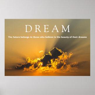 Dream Motivational Clouds, Sky & Yellow Sunset Poster