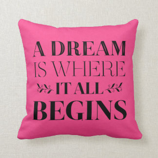 Dream Motivational Quote, Success  Attitude Pink Throw Pillow