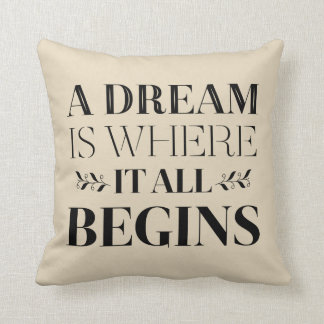 Dream Motivational Quote, Success  Attitude Tan Throw Pillow