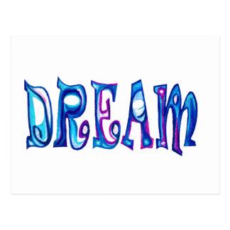 Dream Multi Blue Stencilled Design Postcard