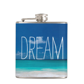 Dream of Blue Skies and White Beaches Hip Flask