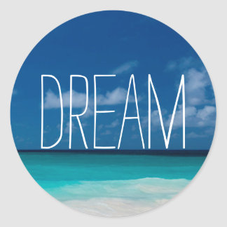 Dream of White Beachs and Blue Skies Classic Round Sticker