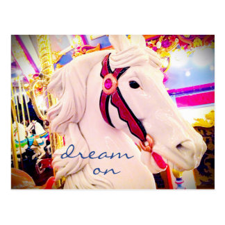 """Dream on"" inspiration quote carousel horse photo Postcard"