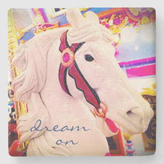 """Dream On"" quote cute white carousel horse photo Stone Coaster"