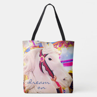 """Dream on"" quote cute white carousel horse photo Tote Bag"