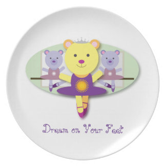 Dream on Your Feet Ballerina Bear Ballet Dancer Plates