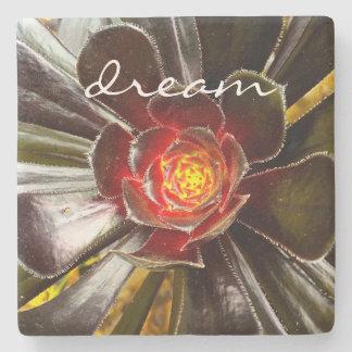 """""""Dream"""" orange & black cactus photo stone coaster"""