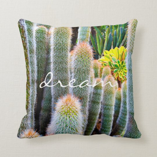 """Dream"" orange-tipped green cactus photo pillow"