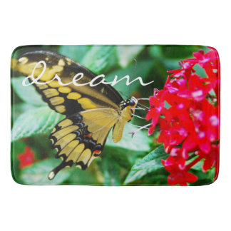 """Dream"" Quote Cute Yellow & Black Butterfly Photo Bath Mat"
