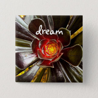 """Dream"" quote giant orange and black cactus photo 2 Inch Square Button"