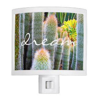 """""""Dream"""" Quote Orange and Green Fuzzy Cacti Photo Nite Lite"""