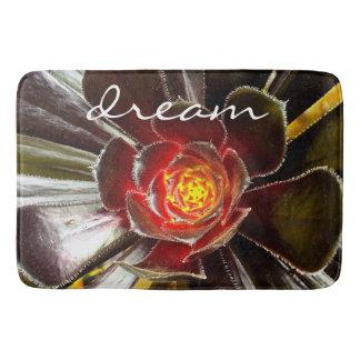 """""""Dream"""" Quote Orange & Black Cactus Close-up Photo Bath Mat"""