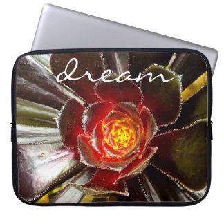"""""""Dream"""" Quote Orange & Black Cactus Close-up Photo Laptop Sleeve"""