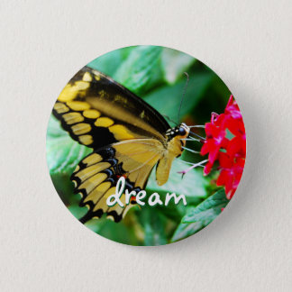 """Dream"" quote yellow and black butterfly photo 2 Inch Round Button"
