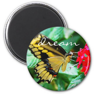 """Dream"" quote yellow and black butterfly photo Magnet"