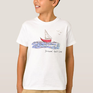 Dream Sail Live Sea Boat Seagull Sketch T-Shirt