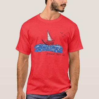Dream Sail Live Sea Boat Seagulls Sketch T-Shirt